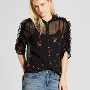 Who What Wear Black Sheer Floral Button Top